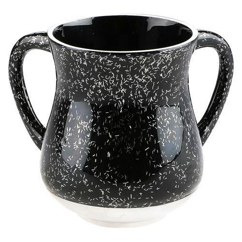 נטלה מהודרת מאלומיניום בגוון שחור עם פסי נצנצים
