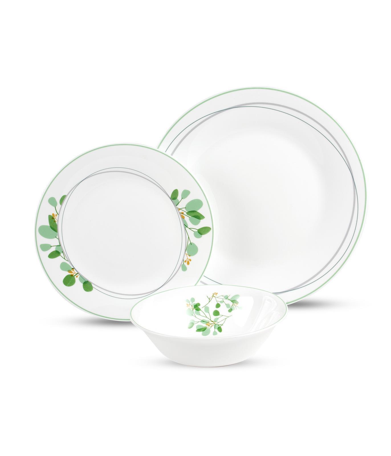 סט צלחות מעוטר מזכוכית אנטי צ'יפ 18 חלקים GREENERY DELICACY מבית פוד אפיל (Food Appeal), 18 חלקים
