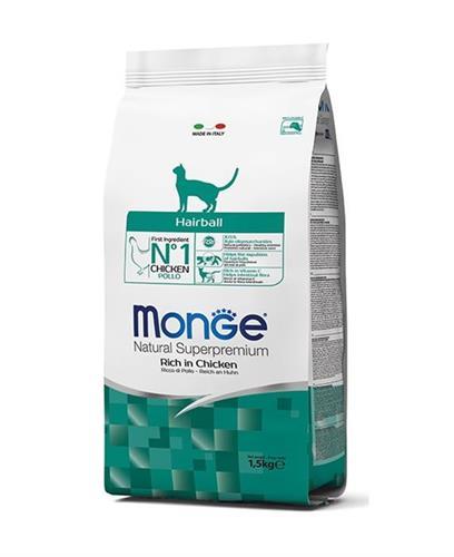 """8009470004794 מזון לחתולים בוגרים הסובלים מכדורי שיער בטעם עוף 10 ק""""ג Monge"""