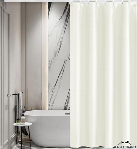 וילון אמבטיה איכותי בגוון חלק במבחר מידות צבע - שמנת