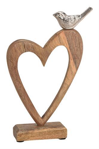ציפור אלומיניום על לב עץ גדול