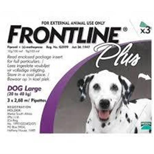 """פרונטליין 3 אמפולות נגד פרעושים וקרציות לכלב מ- 20 ק""""ג עד 40 ק""""ג"""
