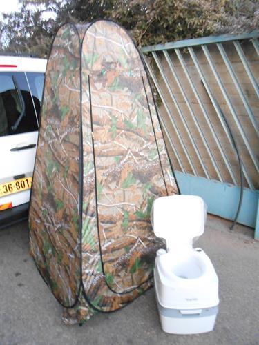 אסלה 21 ליטר עם אוהל הסוואה בית שימוש אסלה כימי נייד שירותים כימיים ידניים ללא צורך בחשמל