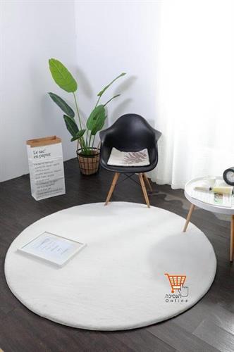 שטיח פרווה לבן - עגול