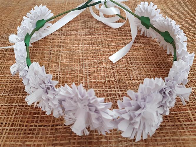 זר לראש פרח שכבות לבן
