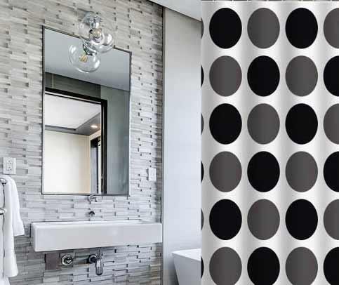 וילון אמבטיה מודפס דגם באבלס - Bubbles