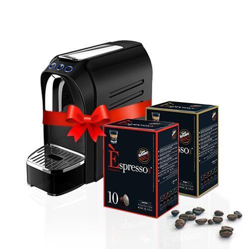 חבילת 100 קפסולות בחודש למשך 18 חודשים + מכונת קפה אספרסו ZERO