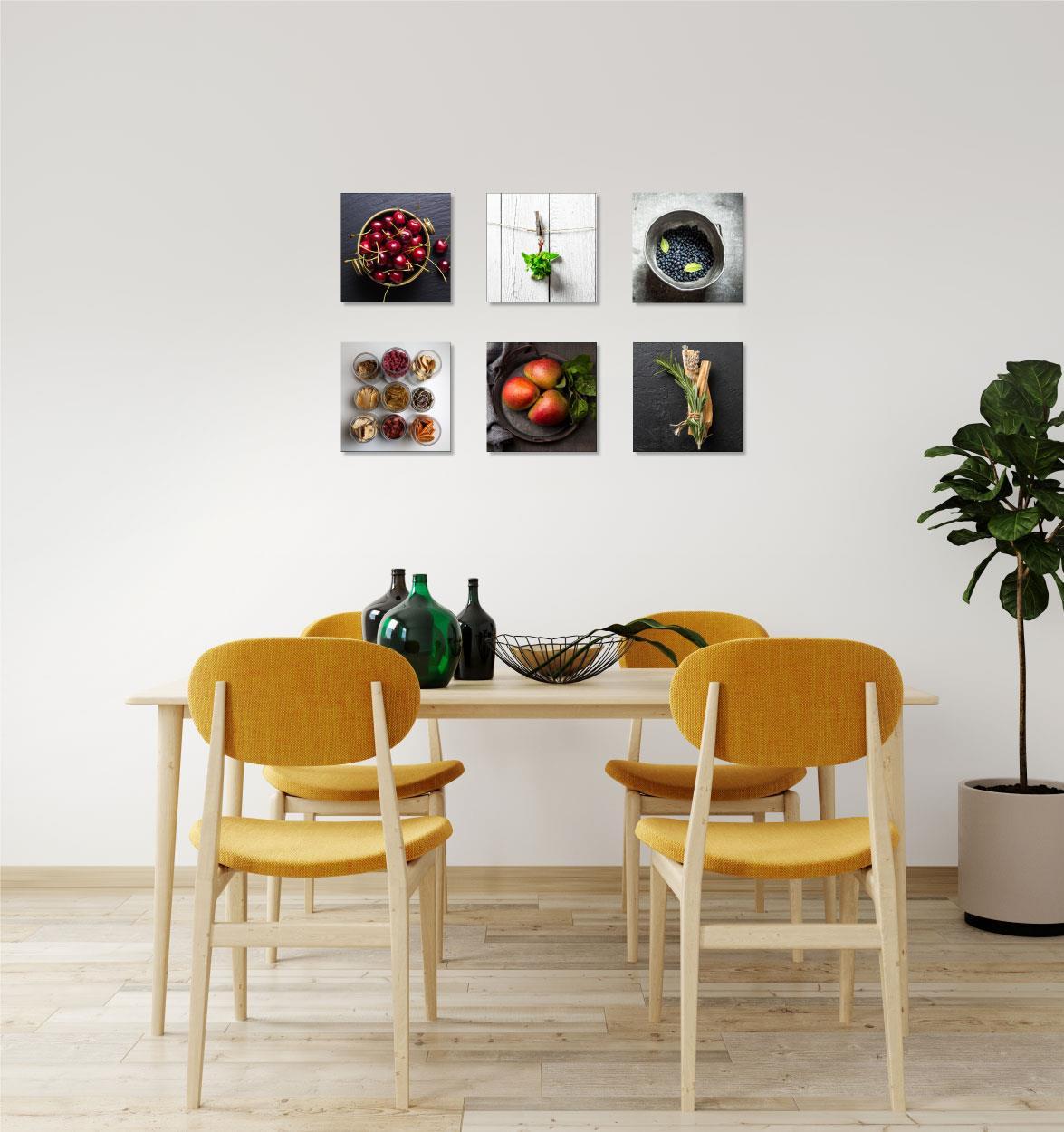 סט של 6 תמונות פירות על קנבס לפינת אוכל שלך