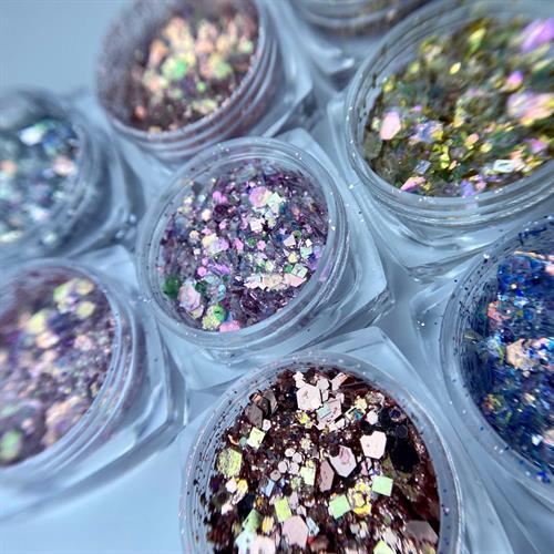 מארז 8 אבקות נצנצים גרוסות בגווני פסטל