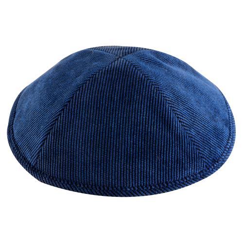 """כיפה קורדרוי כחול בהיר 16 ס""""מ עם מקום לסיכה"""