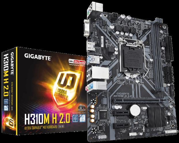 לוח אם אינטל למעבד דור 8 ו 9 Gigabyte H310M H 2.0 VGA HDMI Micro-