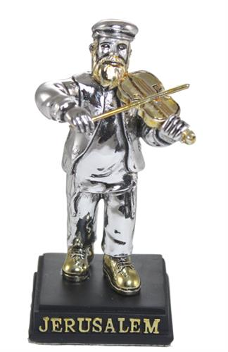 """חסיד מפוליריזן מוכסף עומד על במה ומנגן בכינור 9 ס""""מ"""