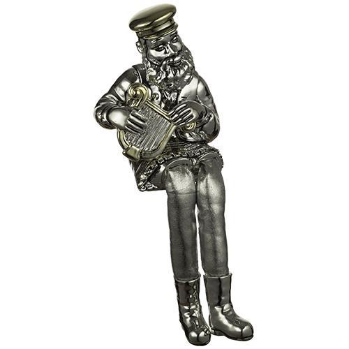 """חסיד יושב מפולירייזן מוכסף עם רגלי בד כסף מנגן בנבל 25 ס""""מ"""