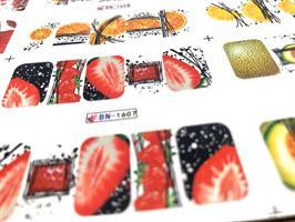 דף סליידרים מדבקות מים ענק בסגנון פירות קייצים