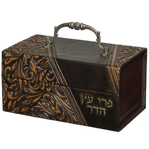 קופסא לאתרוג עץ ועור עם ידית מתכת דגם עלים 12X20X1
