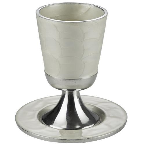 """גביע קידוש אלומיניום בלי רגל מהודר עם תחתית 11 ס""""מ"""