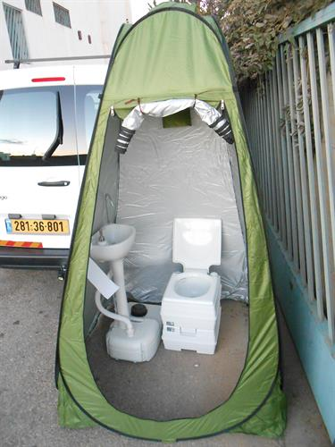 כיור נייד כולל אוהל מתקפל ואסלה 21 ליטר לשטח ולכל מקום