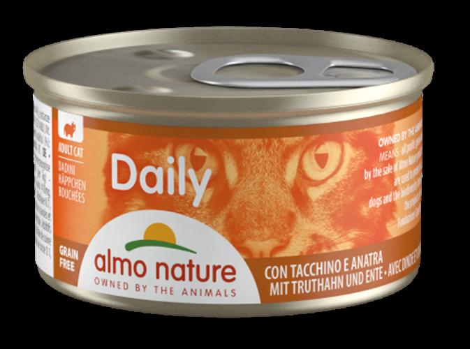 אלמו נייצ'ר דיילי מעדן לחתול על בסיס נתחי הודו וברווז 85 גרם - ALMO NATURE DAILY