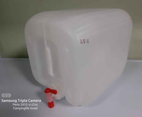 מיכל ג'ריקן 25 ליטר צבע לבן שקוף עם ברז אדום ולבן  מתאים למי שתיה