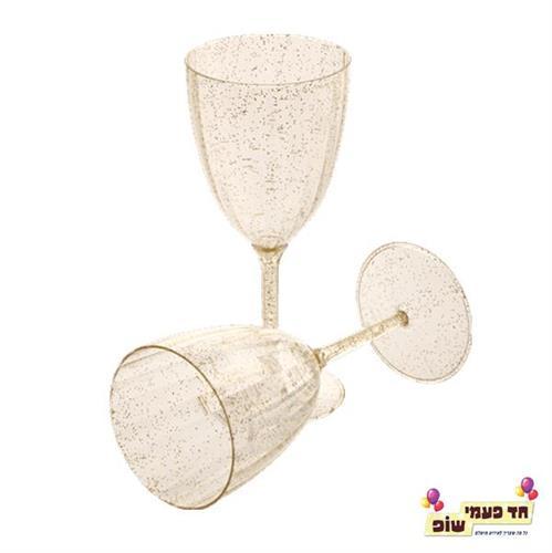 כוסות יין נצנץ זהב