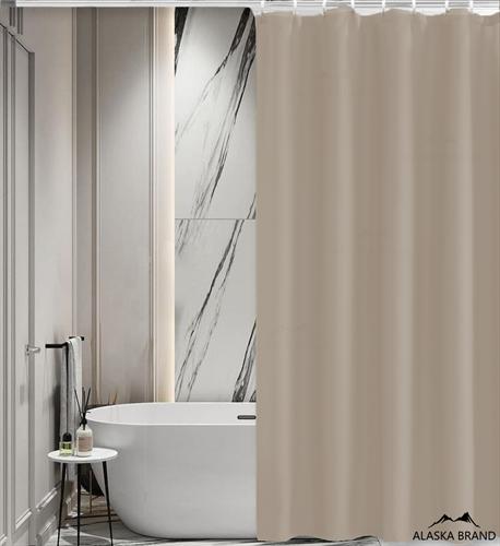 וילון אמבטיה איכותי בגוון חלק במבחר מידות צבע - מוקה