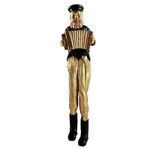 """חסיד יושב מפוליריזין - שחור עם רגלי בד זהב מנגן באקורדיון 18 ס""""מ"""