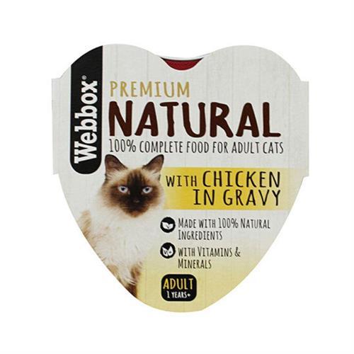 וובוקס, מזון רטוב לחתולים בוגרים, בשר עוף טבעי ברוטב, 85 גרם – Webbox