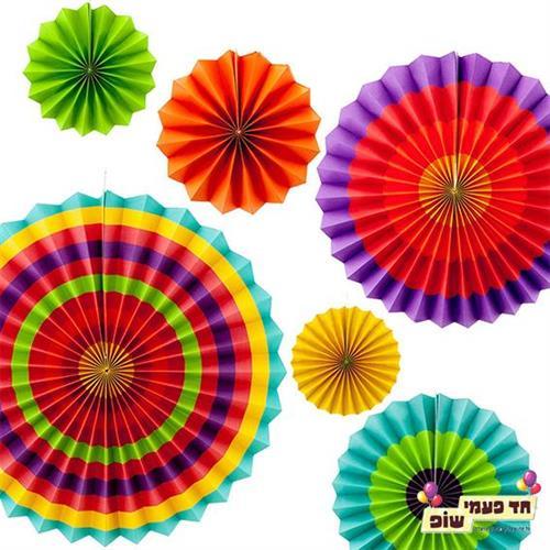 מניפות נייר צבעוני ( 5 יחידות )