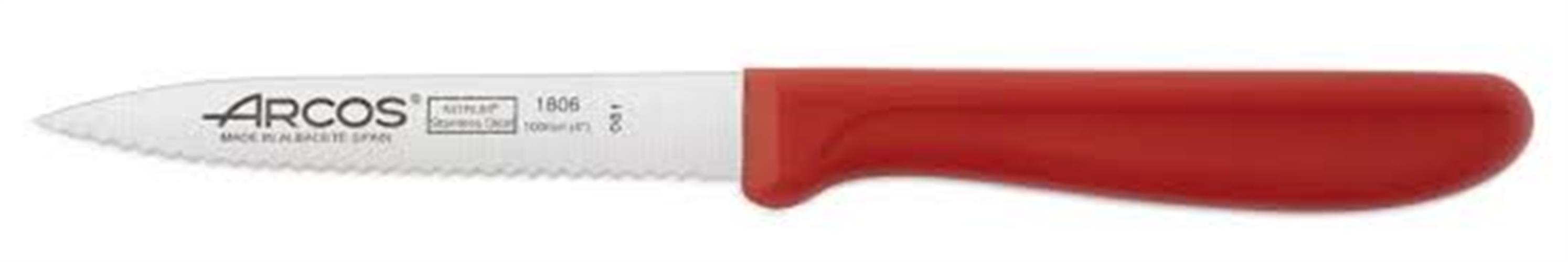 """סכין ירקות משוננת 10 ס""""מ יד' פלסטיק אדומה ARCOS"""