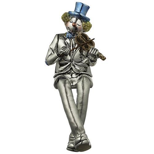 """ליצן יושב מפוליריזן מוכסף עם רגלי בד כסף מנגן בכינור 25 ס""""מ"""