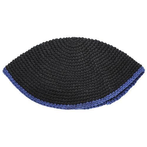 """כיפה פריק שחור 22 ס""""מ - פס כחול"""
