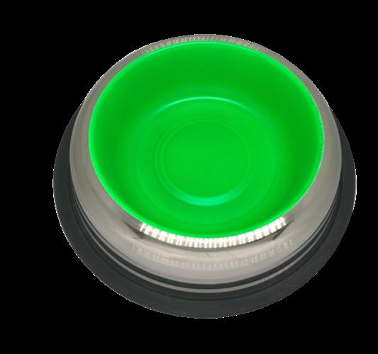 פטקס -קערת נירוסטה בתחתית גומי למניעת החלקה ירוק זוהר (דגם באלי) 0.45 ליטר