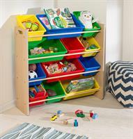 """ארגונית צעצועים 12 קופסאות צבעוניות גימור עץ דגם SRT-01602 מבית honey can do ארה""""ב"""