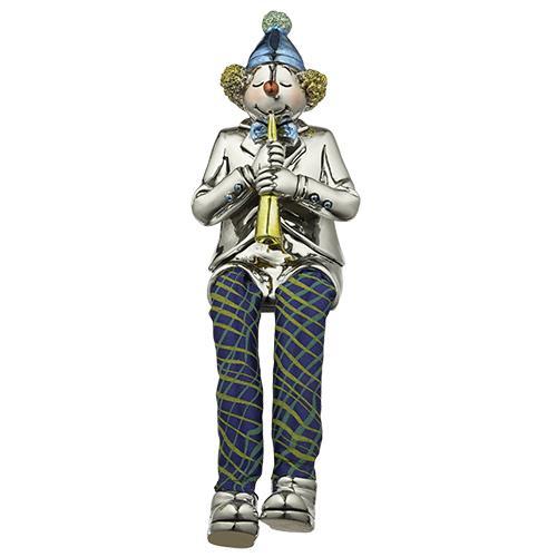 """ליצן יושב מפוליריזן מוכסף עם רגלי בד מנגן בקלרינט 25 ס""""מ"""