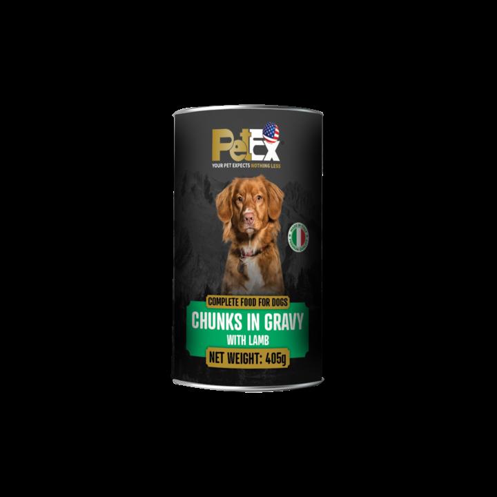 פטקס שימורי מזון מלא לכלבים עם נתחי בשר כבש ברוטב עסיסי 405 גר