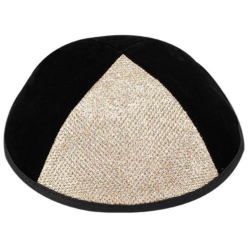 """כיפת קטיפה שחורה 1/4 נצנץ זהב גודל 3 - 19 ס""""מ"""