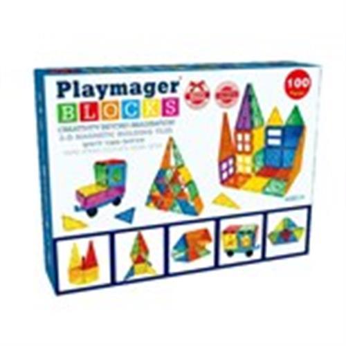 מגנטים PLAYMAGER מקורי 100 חלקים בקופסא קרטון