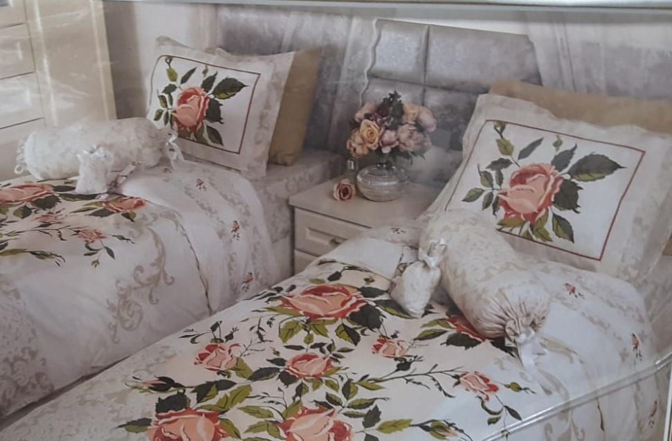 מצעים למיטה זוגית (יהודית) 100% כותנה - פריד דגם קלאפה