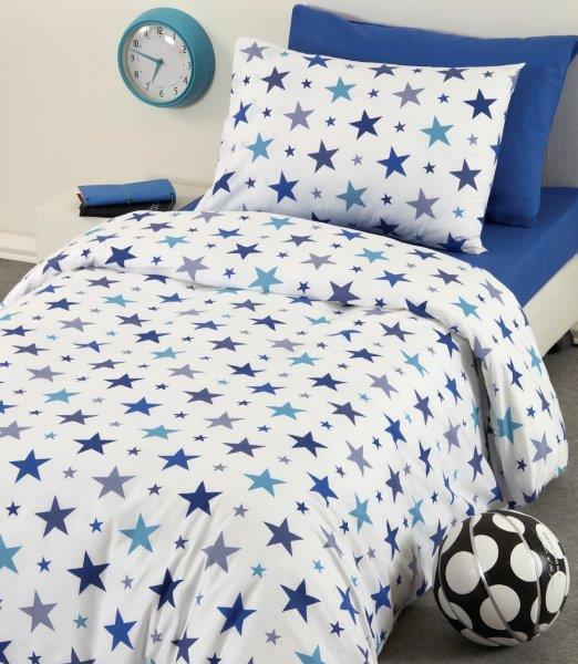 סט מצעים יחיד 100% כותנה כוכבים כחול
