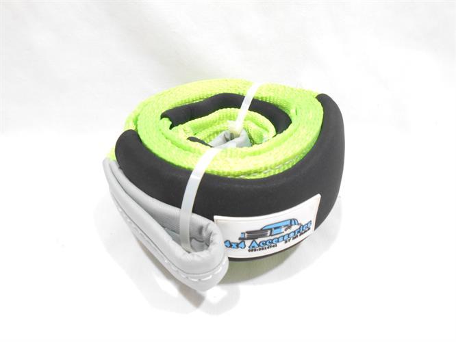 רצועה גרירה וחילוץ לשטח 3 מטר אורך עוצמה 12 טון Polyester צבע ירוק