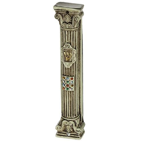 """מזוזה בגוון קרם וחום מפולירייזן 12 ס""""מ בצורת עמוד עיצוב """"חושן"""" משובצת אבנים עם פקק סיליקון"""