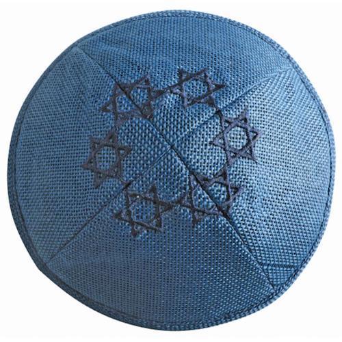 Льняная кипа с вышивкой Маген Давид