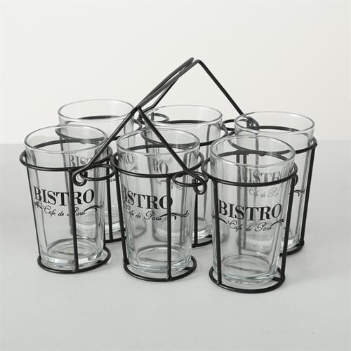 סט 6 כוסות ביסטרו במתקן מתכת