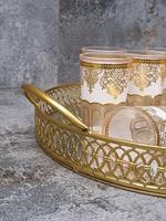 מגש זהב מראה +6 כוסות זהב לבן