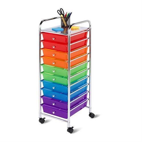 סידורית ניידת 10 מגירות צבעוניות