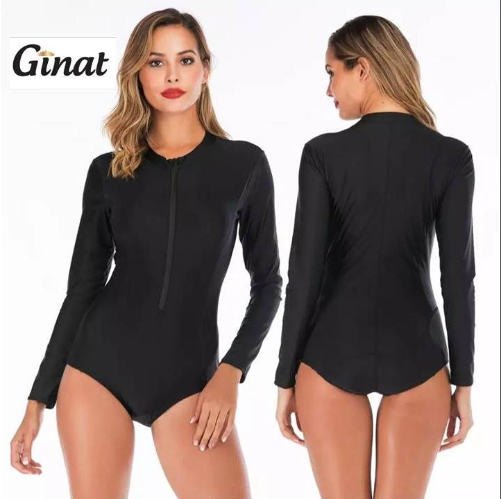 בגד-ים גולשות שחור שלם שרוול ארוך גם במידות גדולות