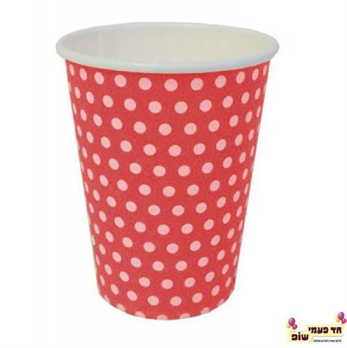 כוסות חמות אדום נקודות