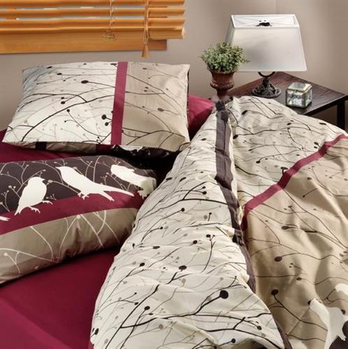 סט מצעים מיטה וחצי 100% כותנה ציפורי