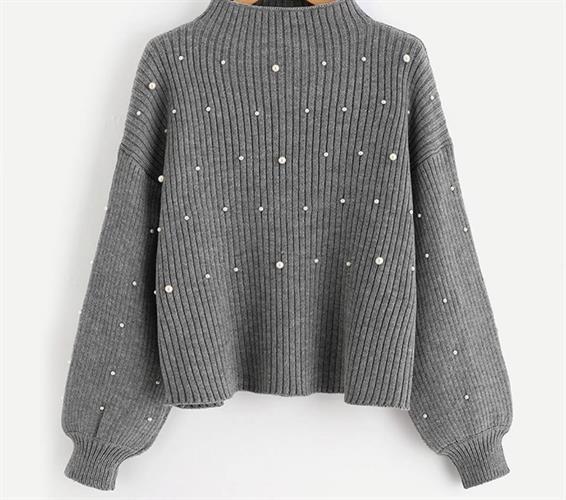 סוודר פנינים אפור