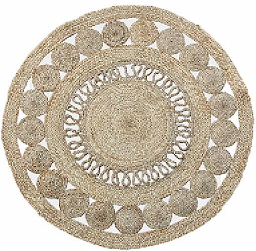 """שטיח דגם - """"גלילון"""" יוטה עגול, עבודת יד בעיצוב מודרני"""